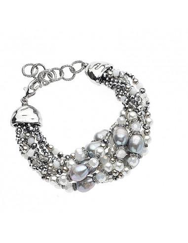 Bracciale con cristalli e perle